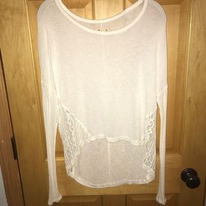 HOLLISTER HIGH-LOW SWEATER WITH LACE DETAIL